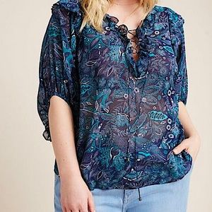 Anthropology a+ blue aqua paisley blouse Haida 1X